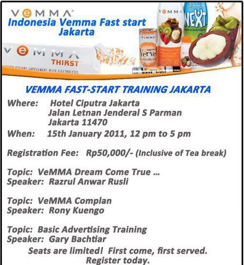 Pelatihan Bisnis Online : VeMMA Fast Start Training Jakarta